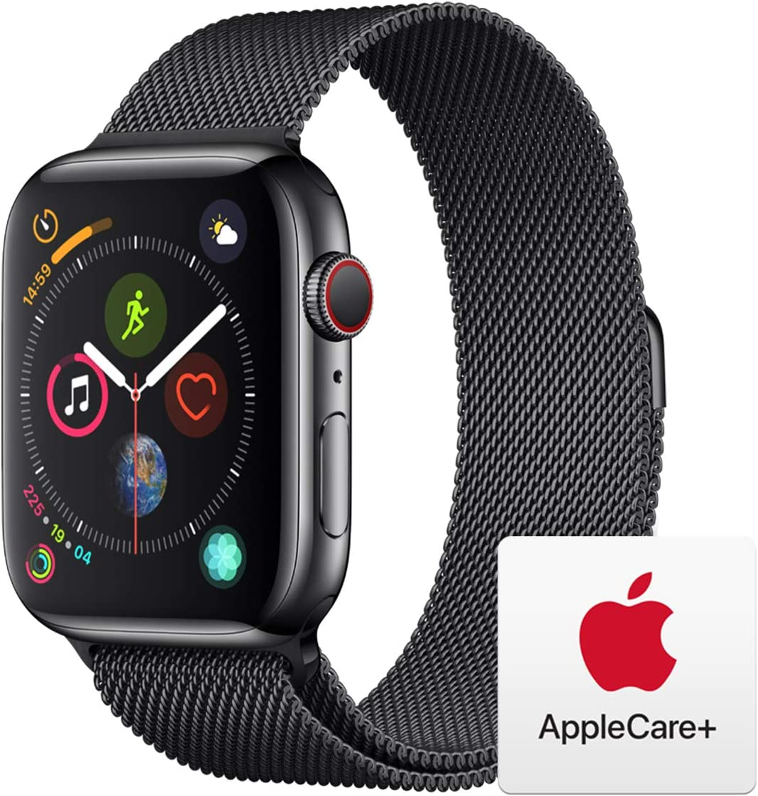 Apple Watch Series 4 (GPS + Cellular, 44mm) - Space Black Stainless Steel Case with Space Black Milanese Loop with AppleCare+ Bundle