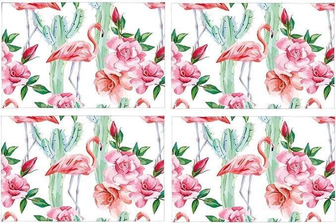 Acuarela, rosa, flamenco, cactus, rosas, fresco, floral, poliéster, tejido, mantel, placa, soporte, esterilla, lavable, aislamiento térmico, resistente, manteles de mesa, protector, juego de 4: Amazon.es: Hogar