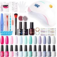 Gellen 12 Colors Gel Nail Polish Starter Kit - with 72W UV/LED Nail Lamp Top Base Coat, Essential Home Manicure Tools…