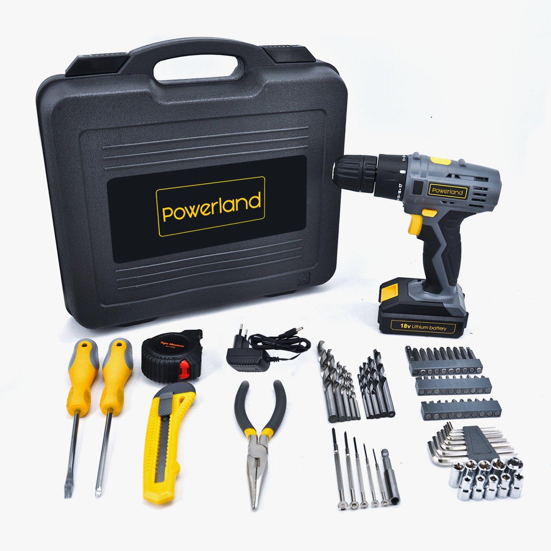 Powerland 77pcs Ensemble de réparation à domicile avec tournevis sans fil D018 18V