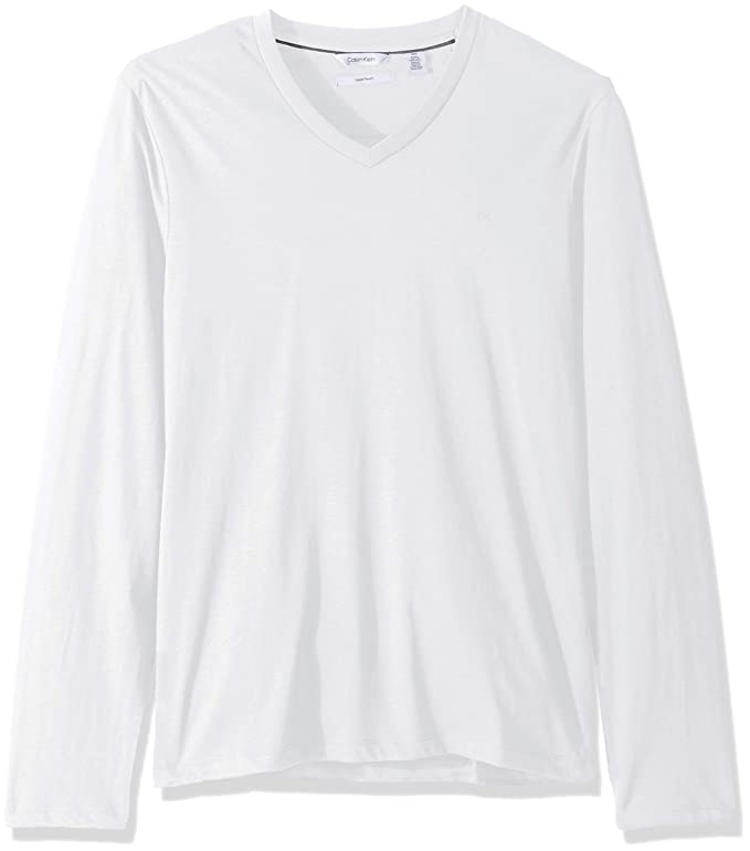 Calvin Klein 卡尔文克莱因 CK 纯棉 修身款 男式V领长袖T恤 3.8折$17.13 两色可选 海淘转运到手约¥133