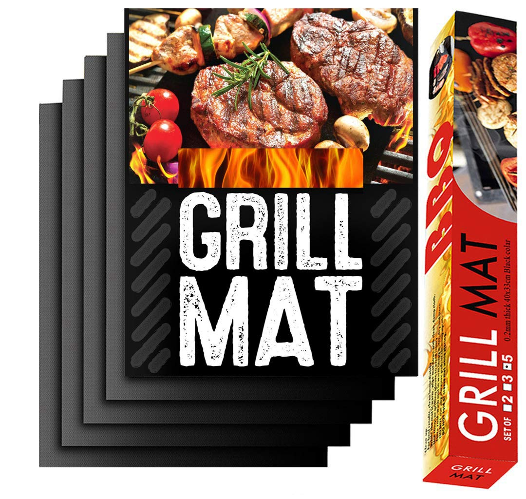 BBQ Grill Mat Set of 5 Charcoal 100/% Non Stick BBQ Baking Mats,bbq sheets grilling mats Reusable Durable and Easy to Clean,barbecue grill mat Works on Gas 15.75 x 13 Inch Oven and Electric Grill