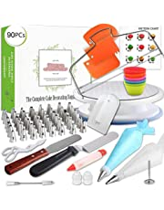 90 Pcs Cake Decoration Spatula Cooking Set for Baking Rotating Pipe DIY Professional Tool Pastry Bag Cake Decorating Equipment
