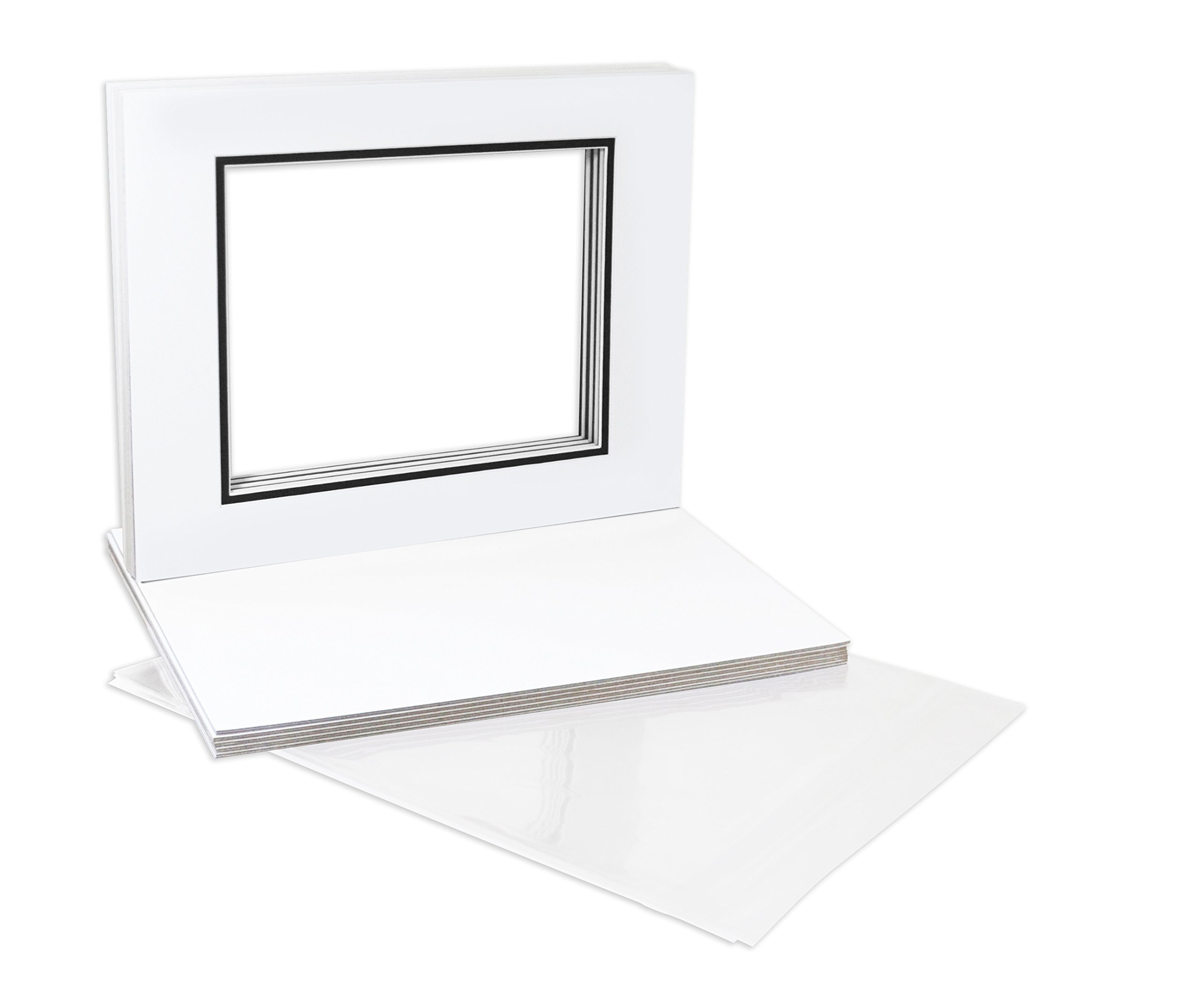 Golden State Art, Pack of 10 11x14 Double Picture Mats with White Core Bevel Cut for 8x10 Pictures + Backing + Bags, White Over Black by Golden State Art