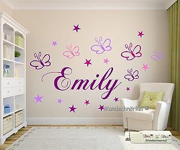 Wandschnörkel ® Wandtattoo Kinderzimmer Wunsch Namen Personalisiert In Lila  Mit 19 Schmetterlingen Und Sternen In