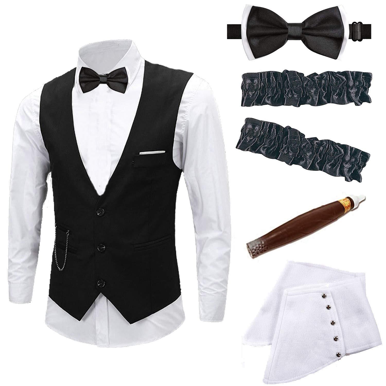 Mens 1920s Accessories Gangster Vest Set - Gangster Spats, Armbands, Pre Tied Bow Tie, Toy Fake Cigar L-VestSet-P