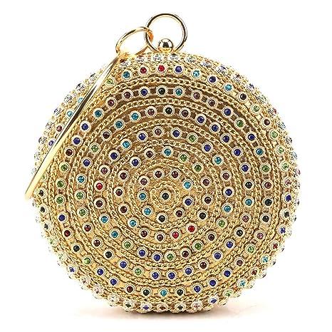 Yoome Mujer Monedero de embrague de bolso de noche de cristal de diamantes de imitación multicolor para boda y fiesta
