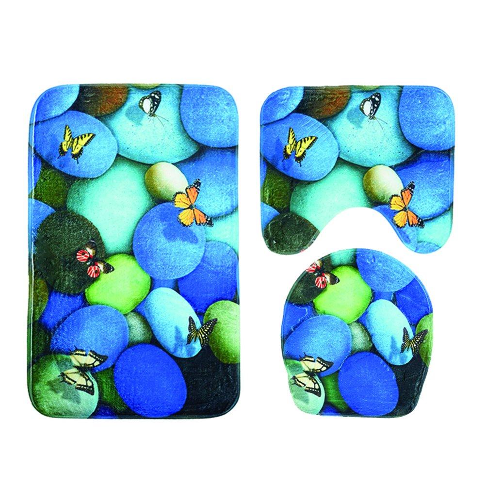 Ounona Tapis de salle de bain wc Lot Imprimé trois pièces antidérapant Tapis de bain Tapis de WC lunette WC pour couvercle (pierres bleues et papillons)