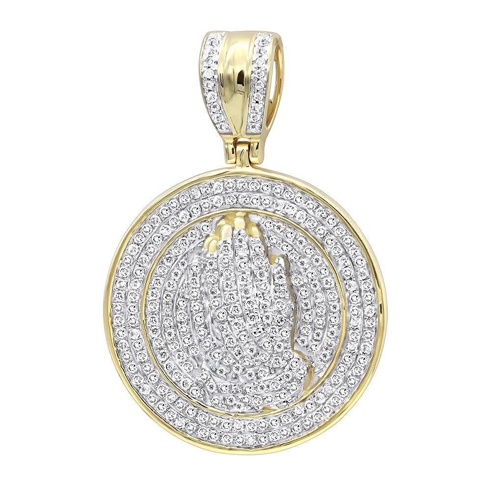 Mens 14K Gold Hip Hop Jewelry: Praying Hands Diamond Pendant Medallion 0.9ctw (Yellow Gold)