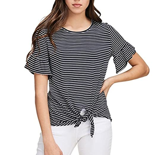 a675bdf1e4541f 2019 New Women's Stripe T-Shirt, E-Scenery Short Sleeve Stripe Round Neck