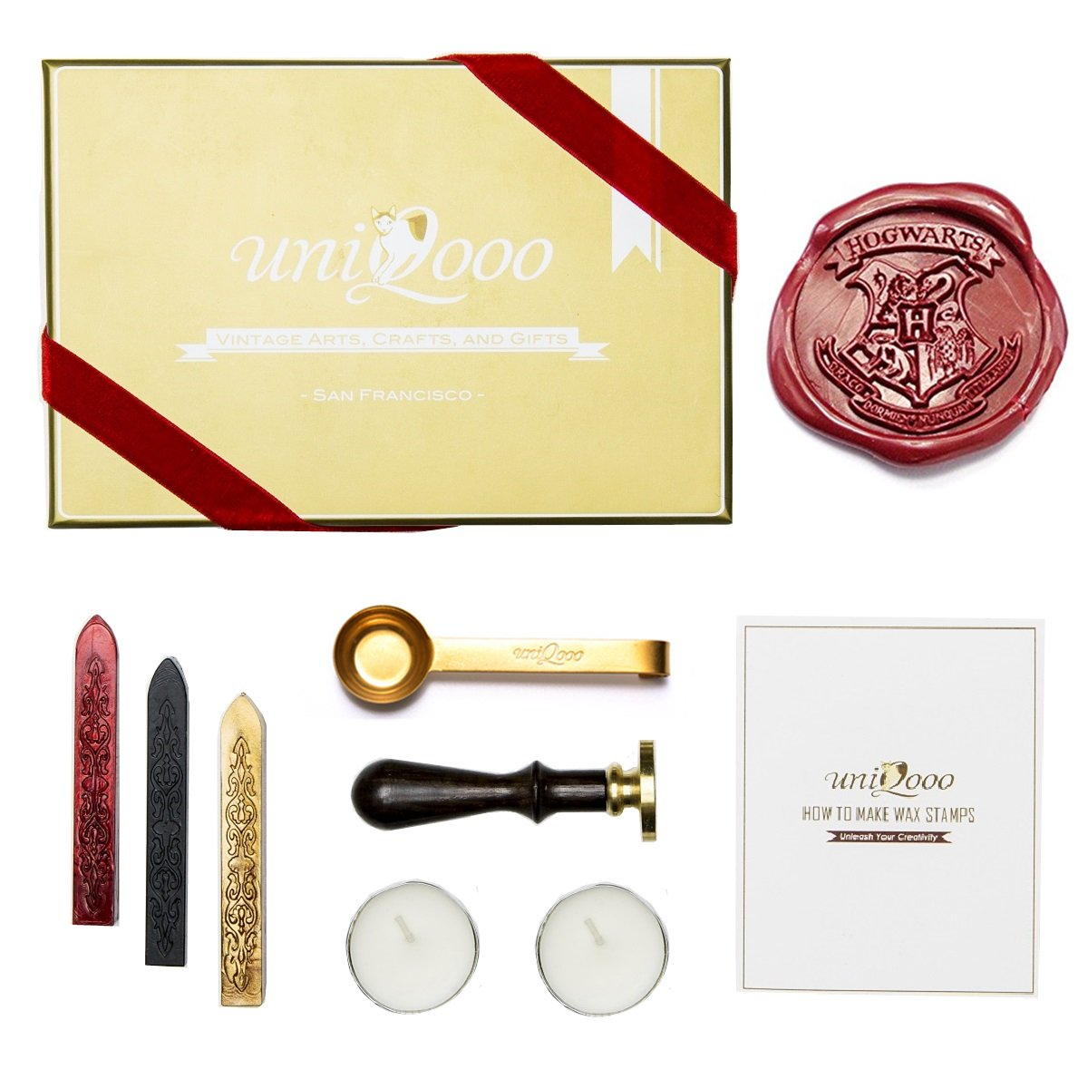UNIQOOO Arts & Crafts Hogwarts School Ministry of Magic Wax Seal Stamp Kit, Gift Idea GIFTS