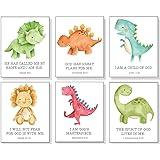 Dinosaur Wall Decor with Bible Verses (Set of 6) - Dinosaur Room Decor for Boys Room or Nursery - UNFRAMED - 8x10