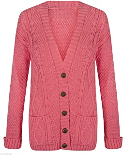 8df78ddb4b kfs collection Ladies Long Sleeve Button Up Chunky Cabel Knitted Grandad  Cardigan