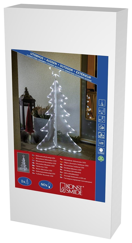 Konstsmide 3922-203 LED Dekoration  3D Acryltannenbaum     für Außen (IP44)    24V Außentrafo   80 kalt weiße Dioden   schwarzes Kabel