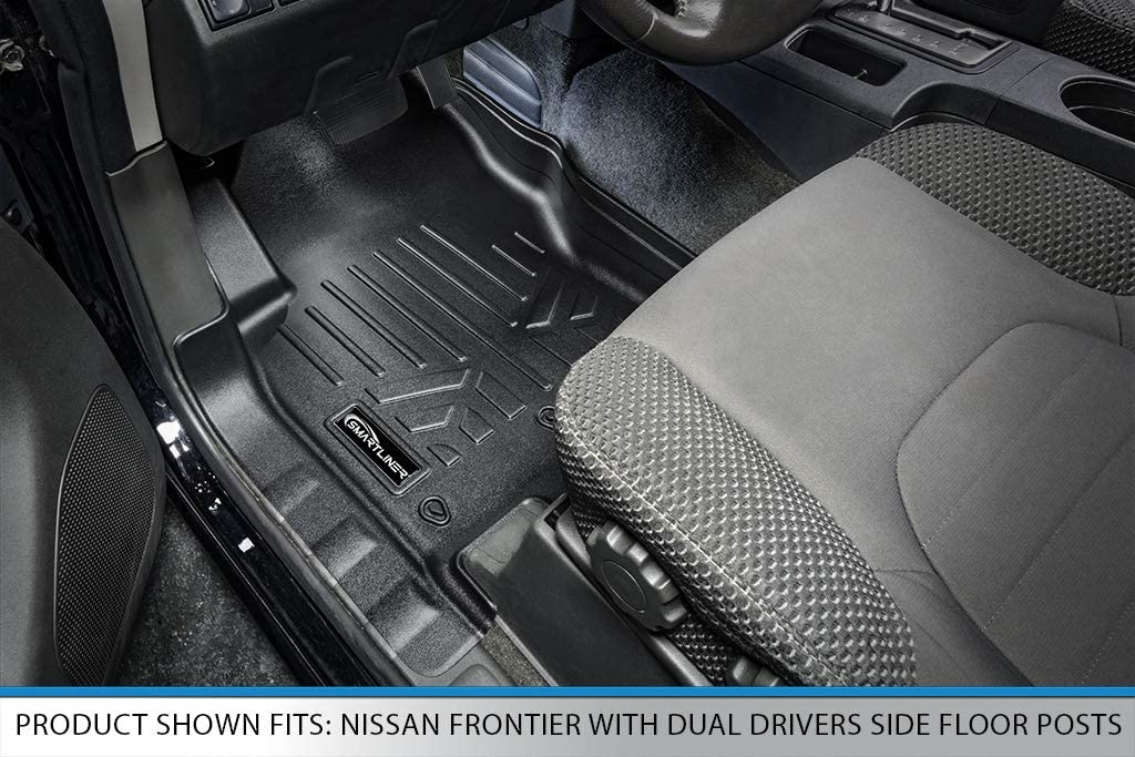 SMARTLINER Custom Fit Floor Mats 1st Row Liner Set Black for 2008-2019 Nissan Frontier with Dual Drivers Side Floor Posts