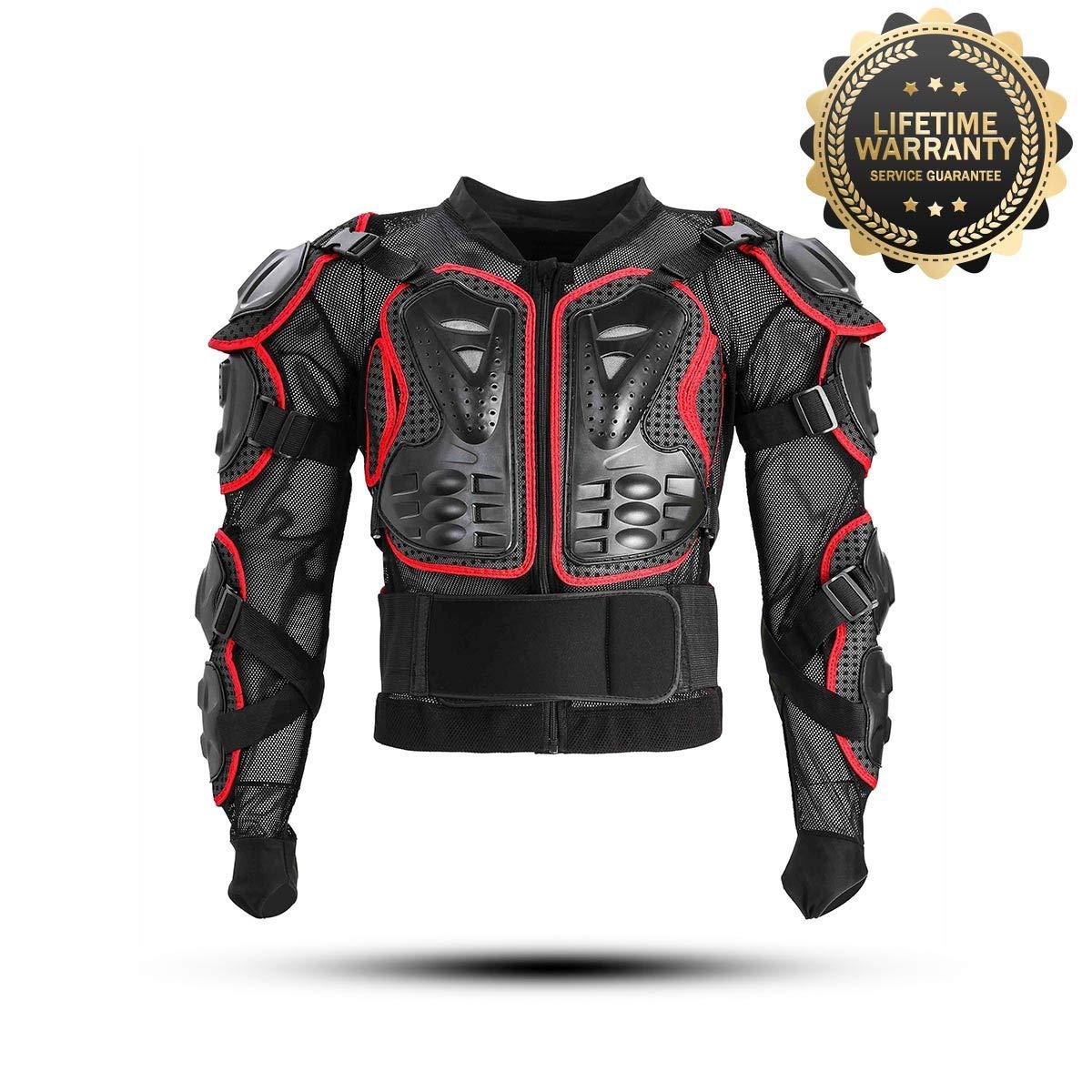 KINGUARD Chaqueta de Moto Chaqueta Protectora Cuerpo Armadura Profesional de Motocicleta Protecci/ón del Cuerpo Entero Spine Chest para Hombres Mujeres Rojo, XL