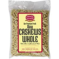 Raw Whole Cashews Unsalted | 5 Pound Bulk Bag | Natural, Perfect for Cashew Milk – by Spicy World