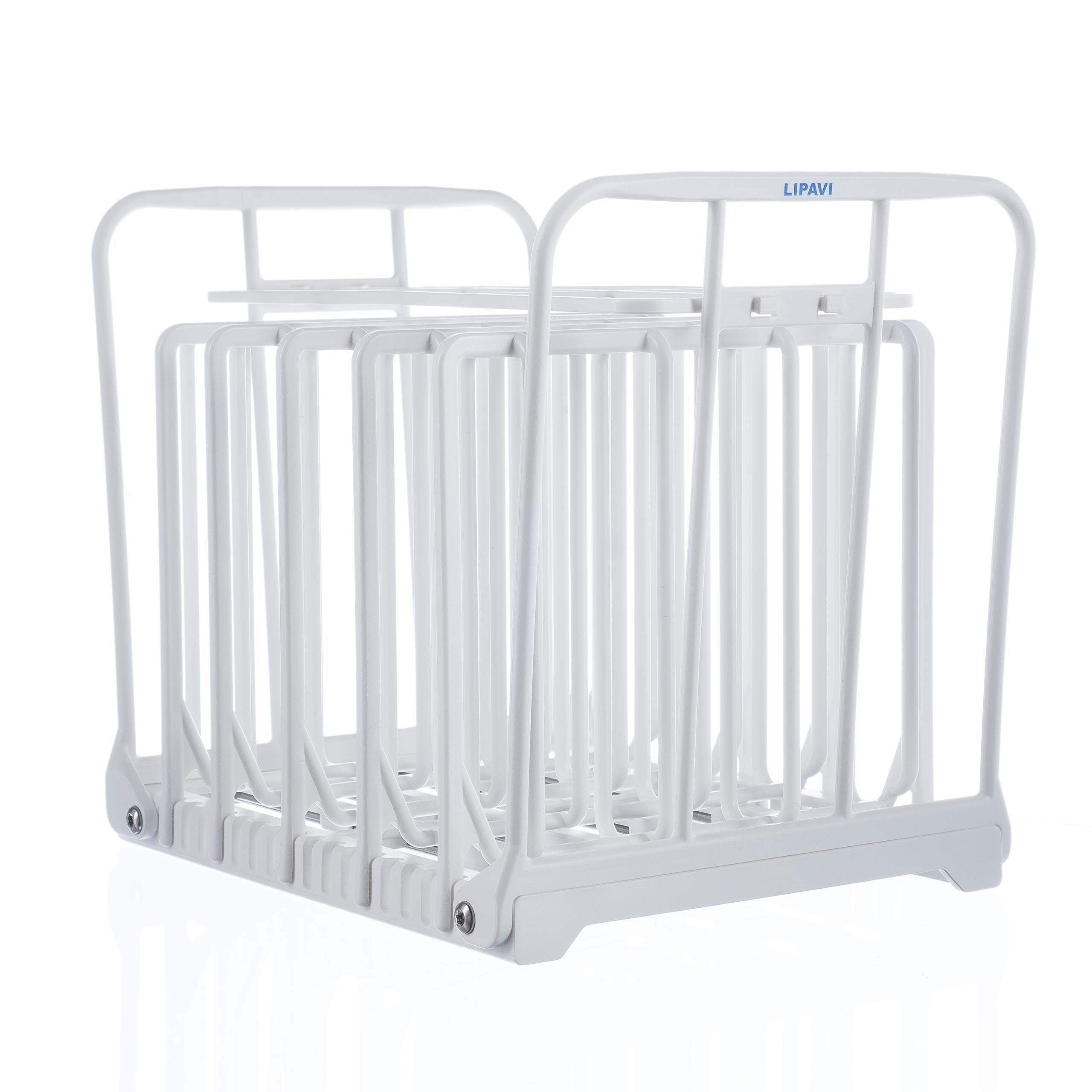 LIPAVI N10X Sous Vide Rack with Anti Float - Adjustable, Collapsible, Ensures even warming with Sous Vide Cooking - White Polycarbonate with 316L Stainless steel weights - Square L:7.8 W:6.4 H:6.6 inch - Fits LIPAVI C10 Container by LIPAVI