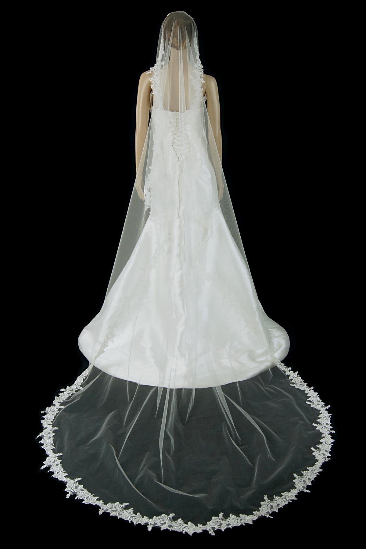 Bridal Mantilla Veil Ivory 1 Tier Long Cathedral Length With Simple Lace Edge by Velvet Bridal (Image #4)