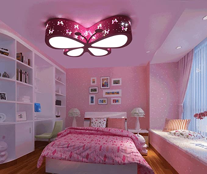 Chandeliers Ceiling Lights Pink Butterfly Cute Led Ceiling Lights For Living Room Bedroom Girls And Babys Amazon Co Uk Lighting