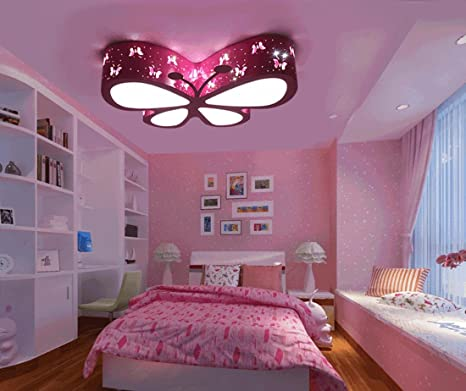 Lámpara LED para techo, rosa, diseño mariposa, para salón ...