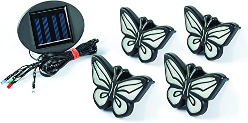 Ideaworks-LED Butterfly Lights-Sets of 4-Solar Powered-Automatically Turns On at Dusk Off at Dawn-Space Each Light up to 32 -Easy Installation