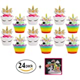 Unicorn Cupcake Toppers and Wrappers Double Sided Kids Party Cake Decorations Set of 24 +Bonus 11