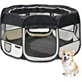 KExing Foldable Puppy Playpen Fabric Pet Pen for Dogs Cats Rabbits Small Animals Black