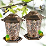 FUNPENY Hanging Bird Feeders, 2 Pack Panorama Gazebo Bird Feeders and Garden Decoration for Bird Watchers and Children