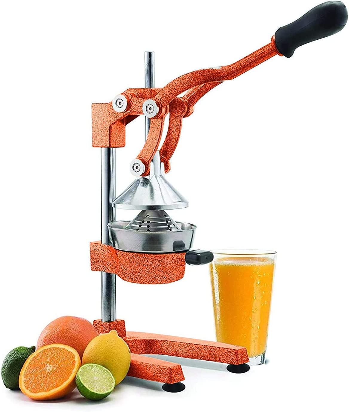 Manual Fruit Juicer - Commercial Grade Home Citrus Lever Squeezer for Oranges, Lemons, Limes, Grapefruits and More - Stainless Steel and Cast Iron - Non-skid Suction Cup Base - 15 Inch - Orange - by Vollum