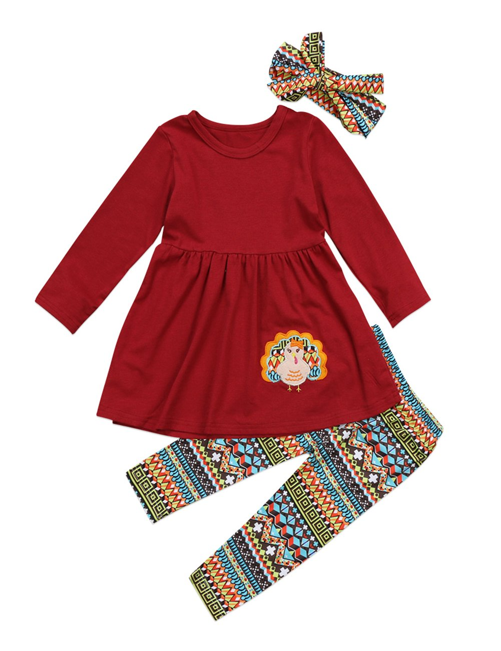 Thanksgiving Day Clothing Sets Kids Baby Girls Long Sleeve Tops Dress+ Turkey Legging Outfit