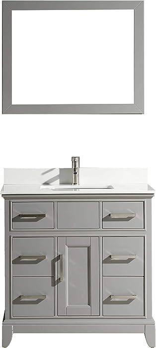 Vanity Art 36 Inch Single Sink Bathroom Vanity Set Super White Phoenix Stone Soft Closing Doors Undermount Rectangle Sinks with Free Mirror VA1036-G