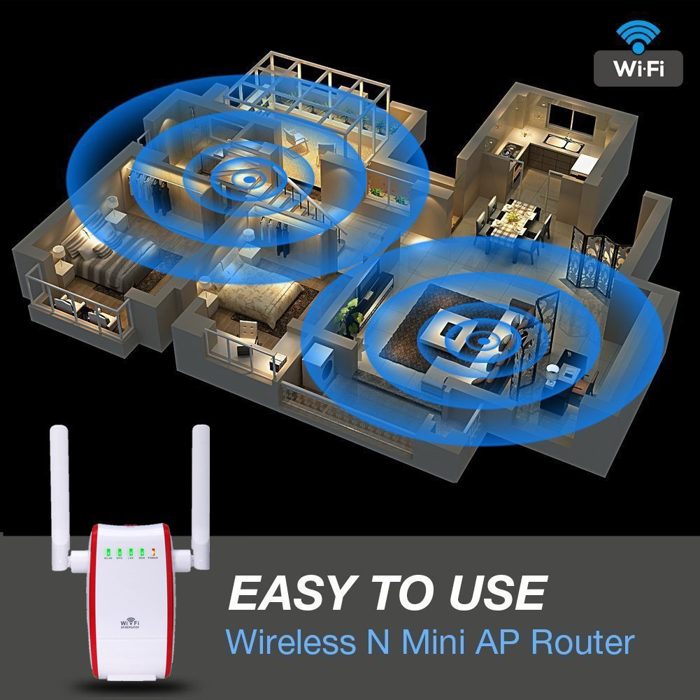300Mbps WiFi Router Long Range Extender 2.4GHz WiFi Repeater Signal ...