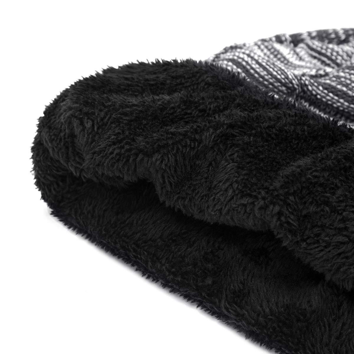 WISH CLUB Knit Beanie Hat Warm Winter Slouch Hats Soft Fleece Lining Knit Unisex Stretchy Skully Cap