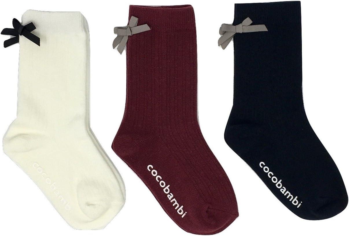 3足組子供靴下クルー丈 リボン付き 9cm - 14cm スベリ止め付