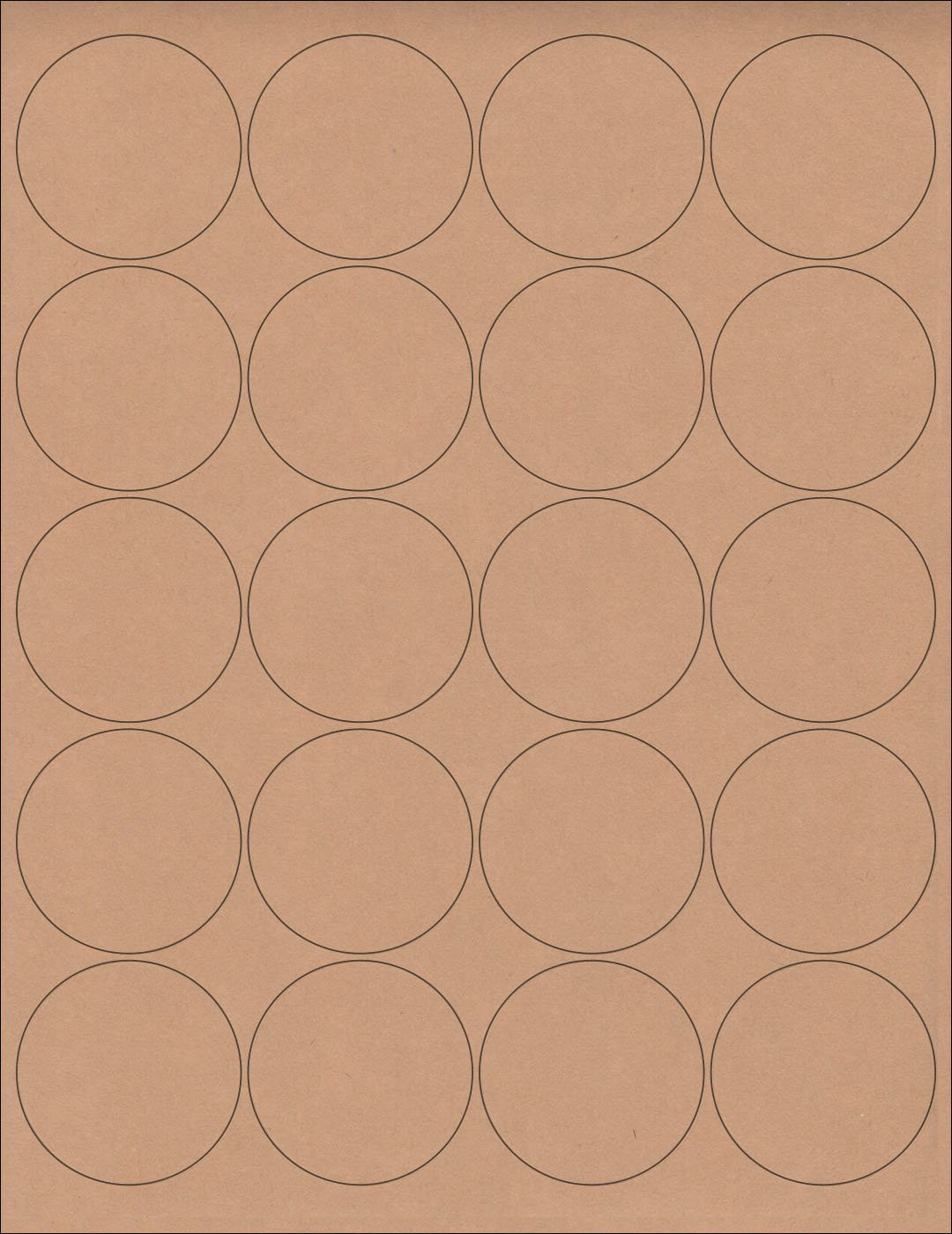 """(6 SHEETS) 120 2"""" Blank Round Circle Brown KRAFT Stickers for Inkjet & Laser Printers. Size: 8-1/2""""x11"""" Standard Sheets"""