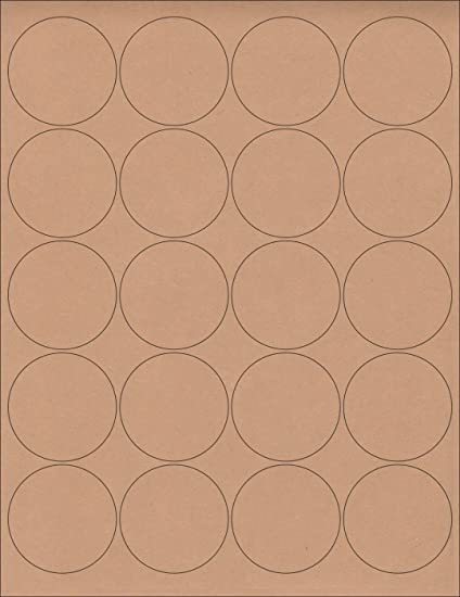 12 sheets 240 2 blank round circle brown kraft stickers for inkjet