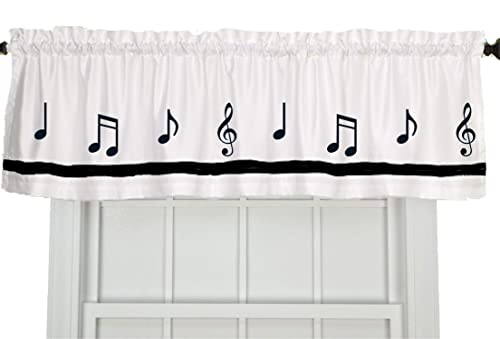 Musical Notes Music Window Valance Window Treatment – In Your Choice of Colors – Custom Made