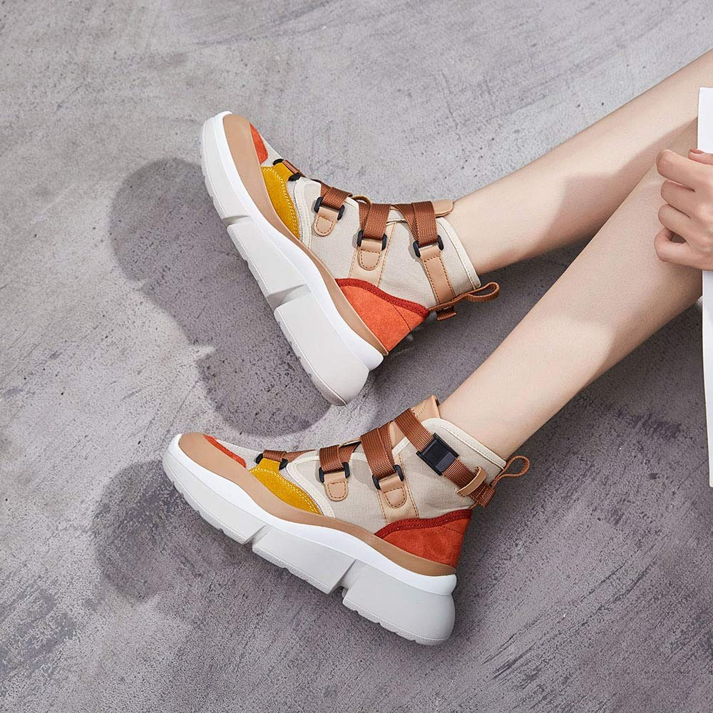 Fuxitoggo Damenmode Stiefel Stiefel Stiefel Ankle Canvas Platform Buckle Schuhe (Farbe   Beige Größe   EU 36) ba424b