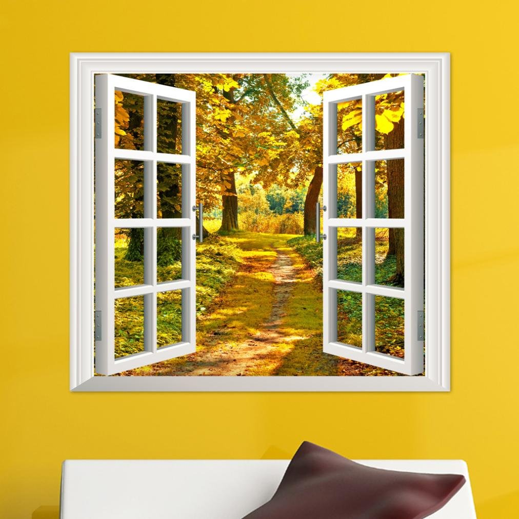 Transer 3D Window Forest Bamboo Birch Tree View Wall StickersWall Mural Wall Decals (colorful)