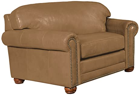 Omnia Leather Dominion Chair U0026 Half In Leather, With Nail Head,  Softstations Buckskin