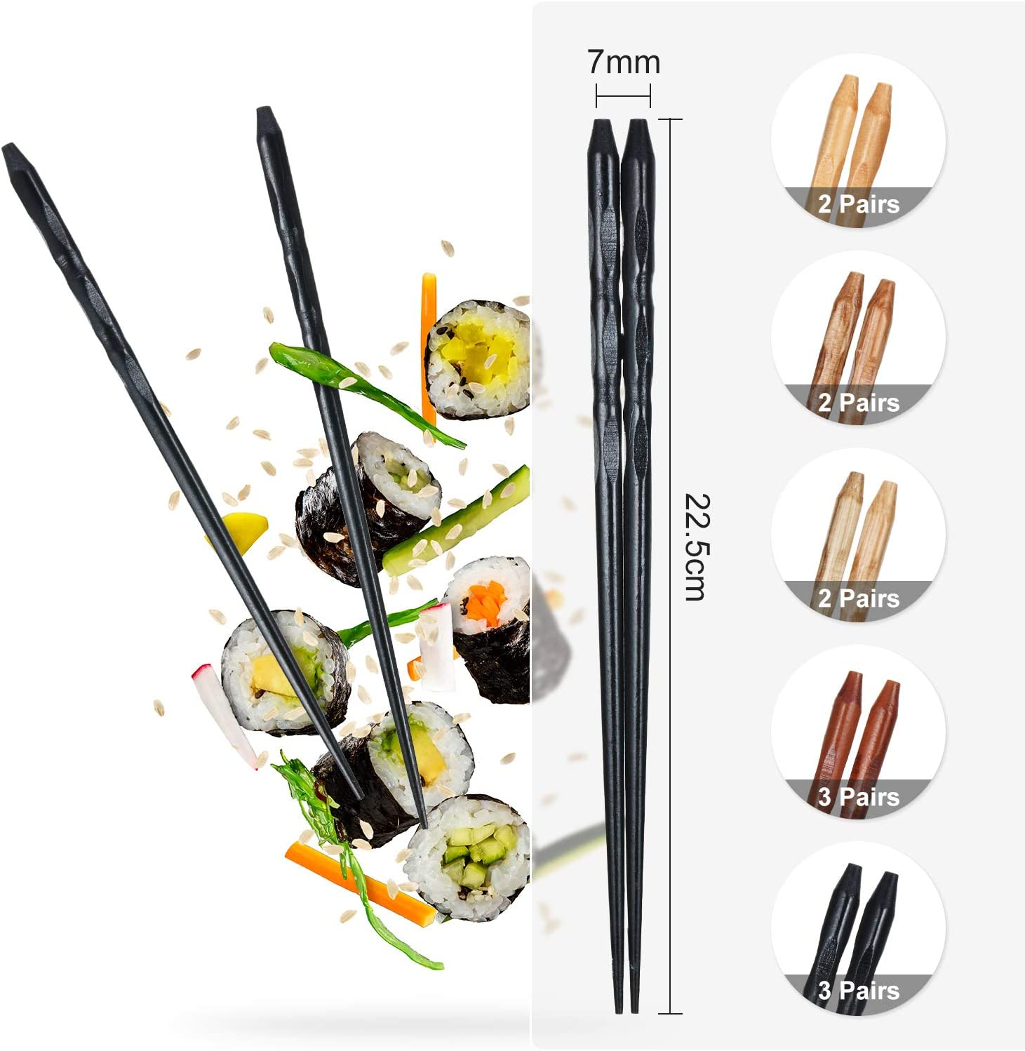 5 Colors 12 Pairs Wood Chopsticks Wooden Reusable Chopsticks Non-slip and Dishwasher Safe for Home Kitchen Cooking Tableware Gift Set