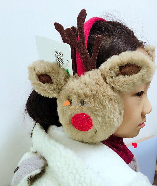 Kids Elk Christmas Adjustable Ear Soft Plush Warm Winter Outdoors Ear Muff