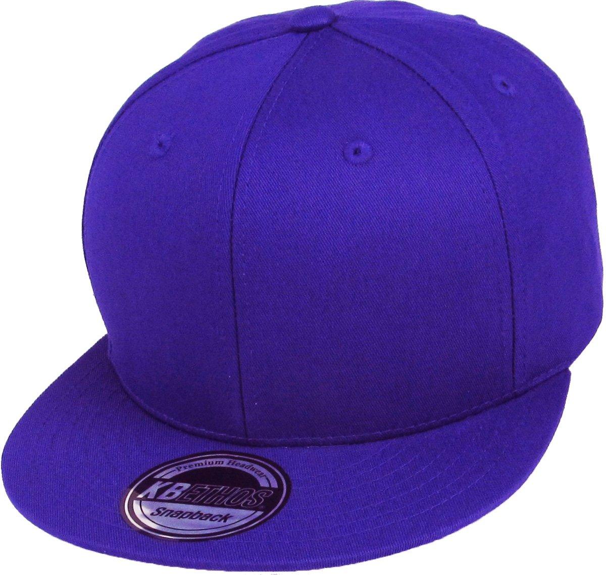 KNW-1467 PUR Cotton Snapback Solid Blank Cap Baseball Hat Flat Brim 7c466db618e7