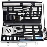 Romanticist 28pcs Kit di Accessori per Barbecue Set - Utensili per Grill in Acciaio Inox in Custodia di Alluminio per Barbecue - Regalo Ideale per Gli Uomini papà di Compleanno di Matrimonio