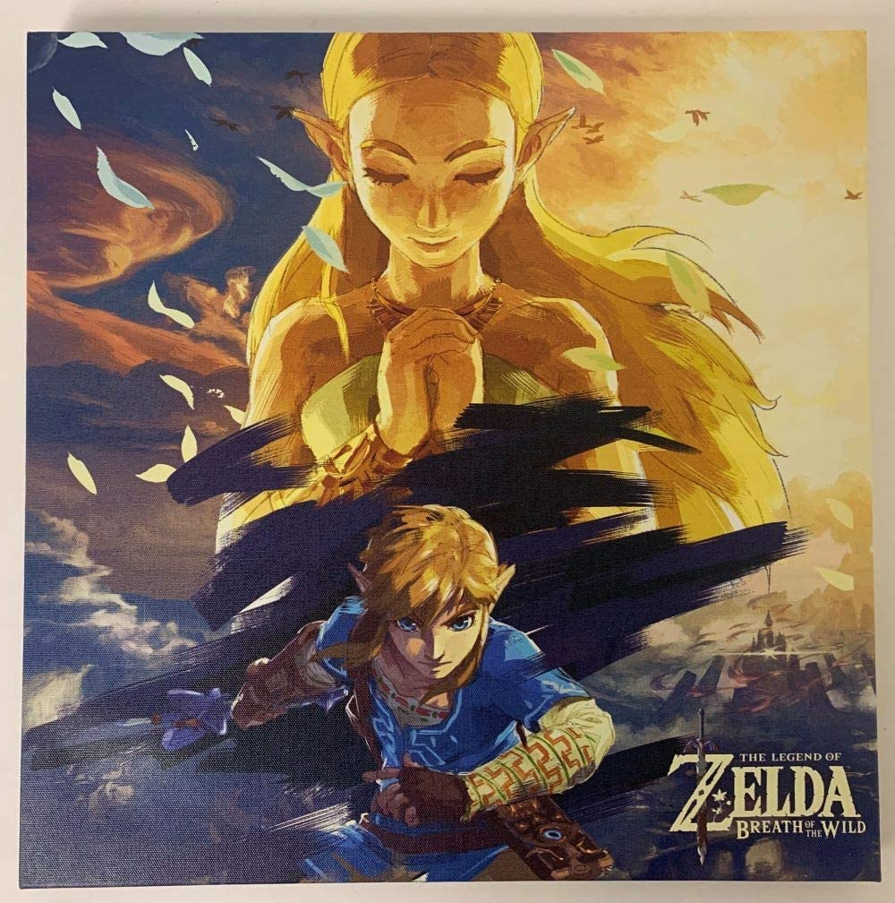 The Legend of Zelda Breath of The Wild 12x12 inch Canvas Wall Art Picture - Link and Zelda
