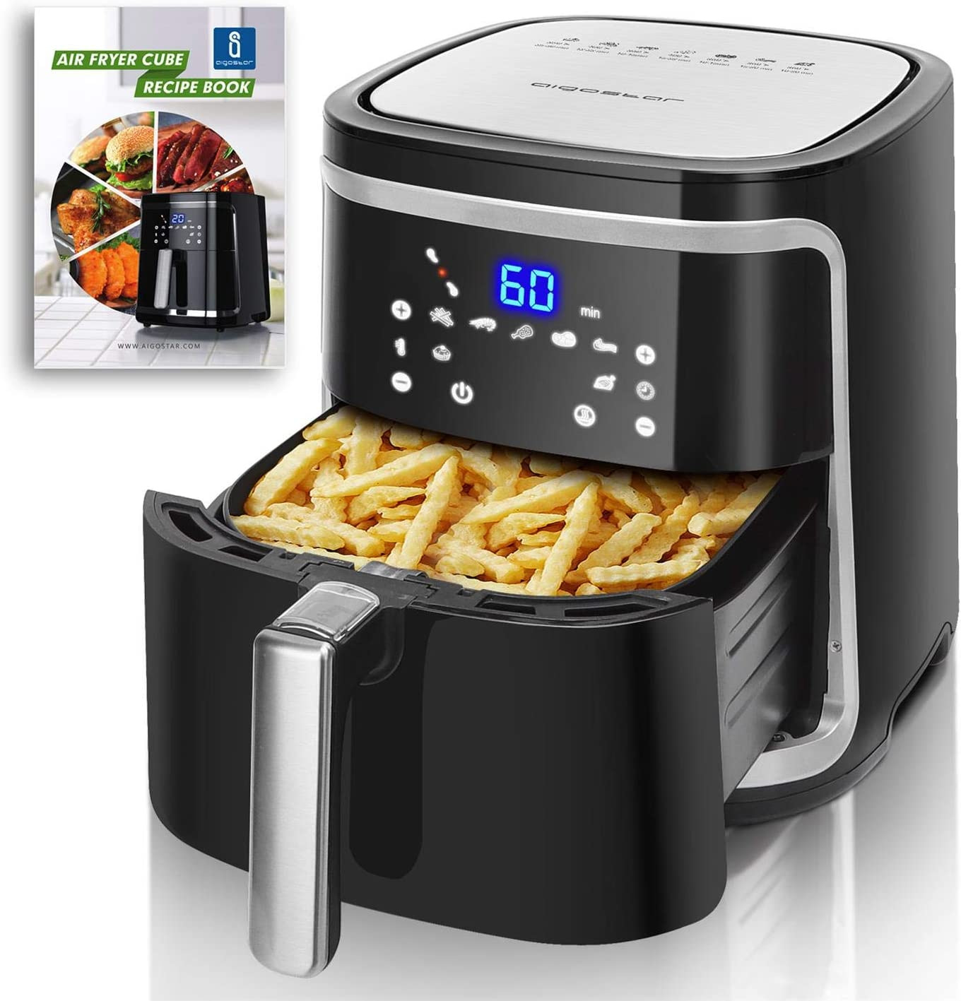 Large Air Fryer XXL, 7.4 Quart, Electric Digital Hot Air Fryer Oven Oilless Cooker with 8 Presets, Recipe Book, 1500-Watt, ETL Listed