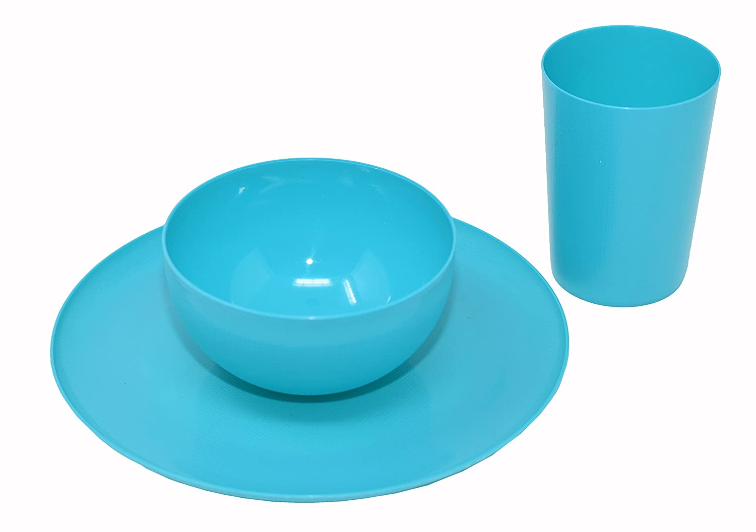 Amazon.com: 12 Piece Plastic Dish Set. Colorful Plastic Plates ...