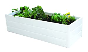"Nuvue Products 26005 Patio 16"" Wide x 44.5"" Long x 11.5"" High-White Garden Planter Box, 16"" x 44.5"" x 11.5"""