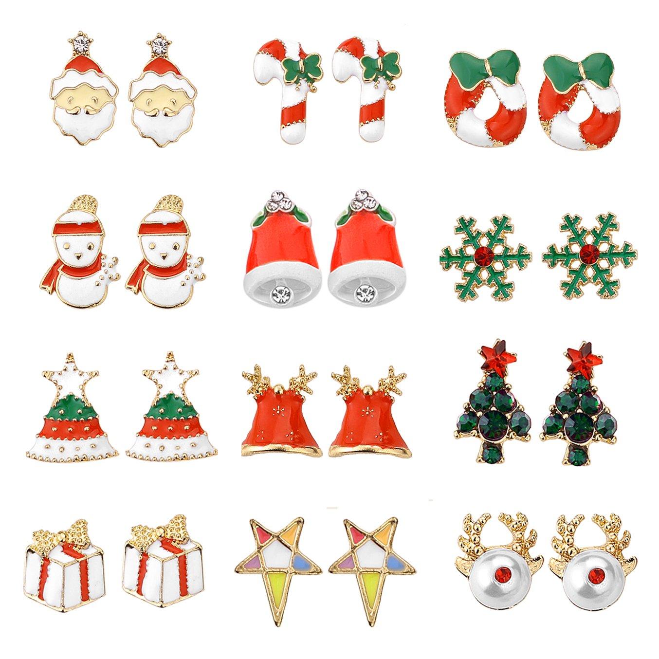 Amazon.com: Women Christmas Earring Stud - 12 Pairs Hypoallergenic ...